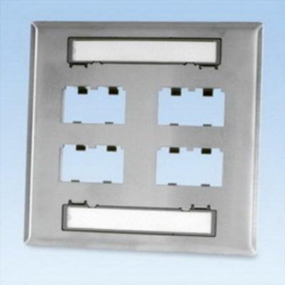 Panduit CFPL8S-2GY Panduit CFPL8S-2GY Mini-Com® 2-Gang Faceplate; (8) UTP, STP, Fiber-Optic, A/V Port, Stainless Steel, International Gray