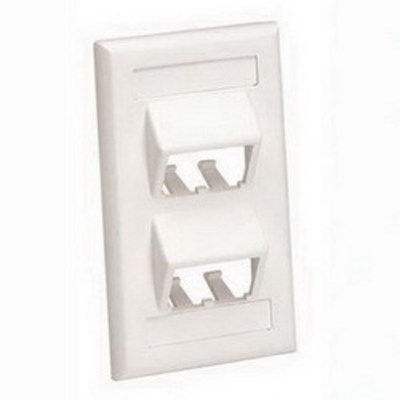 Panduit CFPSL4IWY Panduit CFPSL4IWY Mini-Com® 1-Gang Sloped Faceplate; Screw, (4) UTP, STP, Fiber-Optic, A/V Port, ABS, Off White