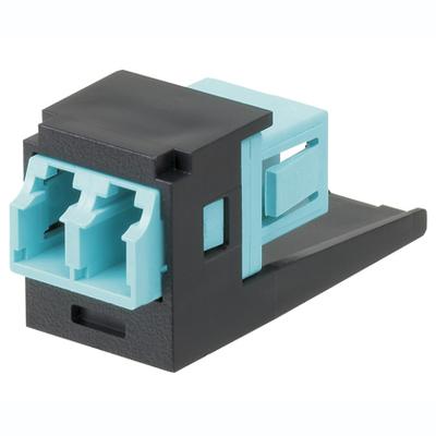 Panduit CMDJAQLCZBL Panduit CMDJAQLCZBL Mini-Com® Sr./Jr. Duplex Fiber Optic Adapter Module; LC Connection, 2-Fiber, OM3/OM4 SFF Duplex Multimode, Zirconia Ceramic Split Sleeve, Black, Aqua Adapter