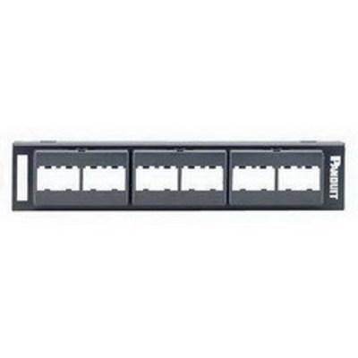Panduit CPP12WBL Panduit CPP12WBL Mini-Com® Mini-Com Flat Modular Faceplate Patch Panel; Wall Mount, 12-Port, 1-Rack Unit, Black