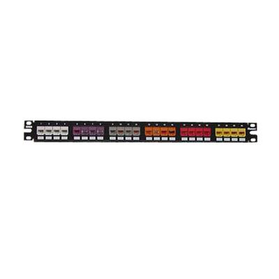 Panduit CPP24FMWBLY Panduit CPP24FMWBLY Mini-Com Flat Modular Patch Panel; Flush Mount, 24-Port, 1-Rack Unit, Black