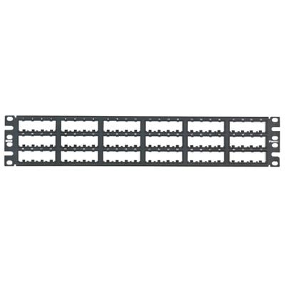 Panduit CPP72FMWBLY Panduit CPP72FMWBLY Mini-Com Flat Modular Patch Panel; Flush Mount, 72-Port, 2-Rack Unit, Black