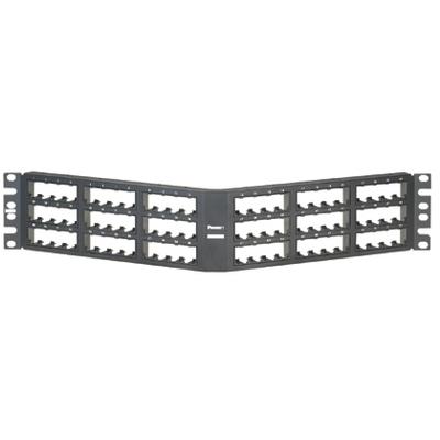 Panduit CPPA72FMWBLY Panduit CPPA72FMWBLY Mini-Com Angled Modular Patch Panel; Flush Mount, 72-Port, 2-Rack Unit, Black