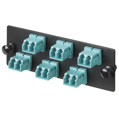Panduit FAP6WBLDLC Panduit FAP6WBLDLC Opticom® LC Fiber Adapter Panel; Multimode, 50/125 um, 6 Duplex Fibers, Black