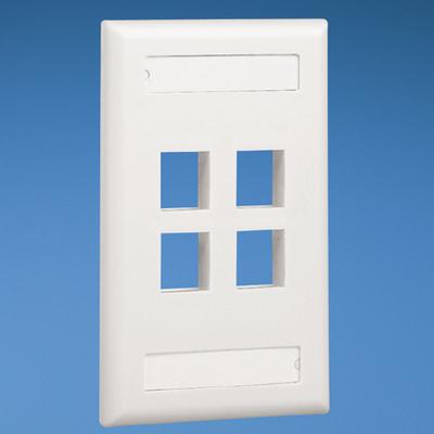 Panduit NK4FWHY Panduit NK4FWHY NetKey® 1-Gang Flat Faceplate; Screw, (4) UTP, STP, Fiber-Optic, A/V Port, ABS, White