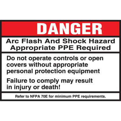 Panduit PPS0305D2108 Panduit PPS0305D2108 Adhesive Arc Flash Label; Polyester Adhesive, White and Black On Red and White