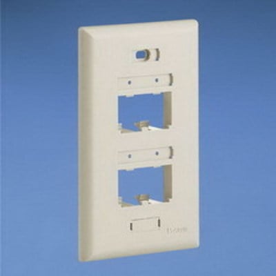 Panduit UICFP4WH Panduit UICFP4WH Mini-Com® Ultimate ID 1-Gang Flat Faceplate; (4) UTP, STP, Fiber-Optic, A/V Port, ABS, White