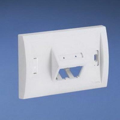 Panduit UICFPHSE4IG Panduit UICFPHSE4IG Mini-Com® Ultimate ID 1-Gang Sloped Faceplate; (4) UTP, STP, Fiber-Optic, A/V Port, ABS, Gray