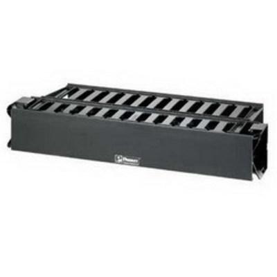 Panduit WMPH2E Panduit WMPH2E PatchLink™ Front and Rear Horizontal Cable Manager; Panel Mount, 2-Rack Unit, ABS Plastic, Black, Powder-Coated