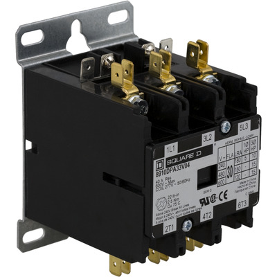 Square D by Schneider Electric 8910DPA33V14Y244 8910DPA33V14Y244 SQD Contactor, Definite Purpose, 30A, 3 pole, 20 HP at 575 VAC, 3 phase, 24/24 VAC 50/60 Hz coil, open, CU/AL box lugs