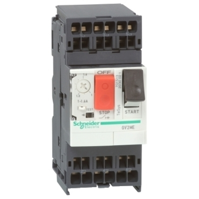 Square D by Schneider Electric GV2ME033 GV2ME033 SQD TeSys GV2 Manual Starter and Protector, thermal magnetic circuit protector, push buttons, 0.25...0.40 A, spring terminals
