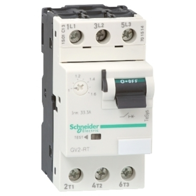 Square D by Schneider Electric GV2RT21 GV2RT21 SQD TeSys GV2 Manual Starter and Protector, thermal magnetic circuit protector, toggle switch, 0.400.63 A, screw clamp terminals