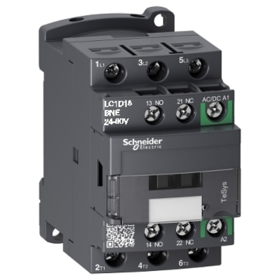 Square D by Schneider Electric LC1D18BNE LC1D18BNE SQD TeSys D Green IEC contactor, 18 A, 3 P, 10 HP at 480 VAC, nonreversing, 24-60 VAC/VDC coil
