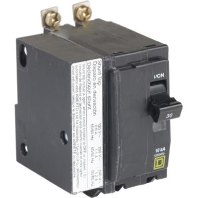 Square D by Schneider Electric QOB230VH1021 QOB230VH1021 SQD Mini circuit breaker, QO, 30A, 2 pole, 120/240 VAC, 22 kA, bolt on mount, AC shunt trip
