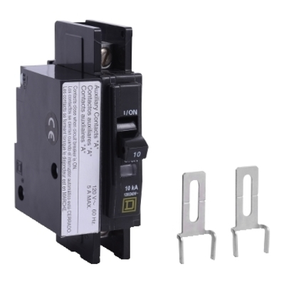 Square D by Schneider Electric QOU1101200 QOU1101200 SQD Mini circuit breaker, QOU, 10A, 1 pole, 120/240 VAC, 10kA, auxiliary switch
