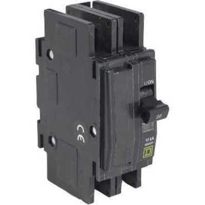 Square D by Schneider Electric QOUR245 QOUR245 SQD Mini circuit breaker, QOU, 45A, 2 pole, 120/240 VAC, 10kA, field reversible lugs