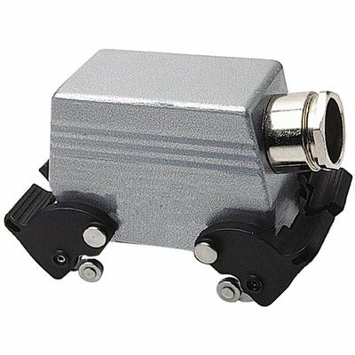 Thomas & Betts (T&B) LH010EMV Thomas & Betts LH010EMV B Series Double Lever Hood Reverse Locking Side Entry; 16 Amp, 600 Volt AC, 1/2 Inch NPT, 1 x PG16, Die-Cast Aluminum Alloy