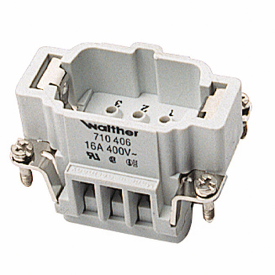 Thomas & Betts (T&B) MS206B Thomas & Betts MS206B Pos-E-Kon™ B Series Standard Size Male Pin Insert; 16 Amp, 600 Volt AC, 6 + Ground Contact