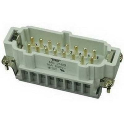Thomas & Betts (T&B) MS216B Thomas & Betts MS216B Pos-E-Kon™ B Series Standard Size Male Pin Insert; 16 Amp, 600 Volt AC, 16 + Ground Contact
