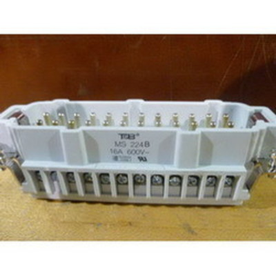 Thomas & Betts (T&B) MS224B Thomas & Betts MS224B Pos-E-Kon™ B Series Standard Size Male Pin Insert; 16 Amp, 600 Volt AC, 24 + Ground Contact