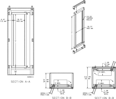 nVent HOFFMAN A9036SOF19 Hoffman A9036SOF19 A80 Series Swing-Out 43U Rack Mounting Frame; Steel, White