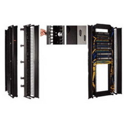 nVent HOFFMAN DV12DF7 Hoffman DV12DF7 CableTek™ Double-Sided Finger Style Vertical Cable Manager; Rack Mount, 45-Rack Unit, Aluminum, RAL 9005 Black, Low-Gloss Light Textured Polyester Powder Paint