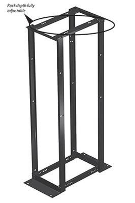 nVent HOFFMAN E4DRS19FM51U Hoffman E4DRS19FM51U Swing Out 4-Post Open Frame Rack; Square Mount, 12-Rack Unit, RAL 9005 Black Polyester Powder Paint