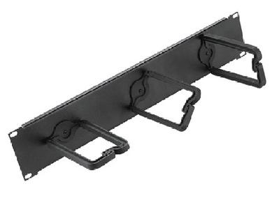 nVent HOFFMAN ECM19DR1U Hoffman ECM19DR1U D-Ring Assembly; 1-Rack Unit, Plastic D-Ring, Steel Backplate, Black D-Ring, RAL 9005 Backplate, Polyester Powder Paint Backplate