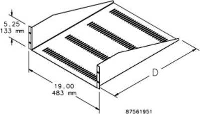 nVent HOFFMAN EMSV1918 Hoffman EMSV1918 Vented Shelf; Rack Mount, 3-Rack Unit, Black