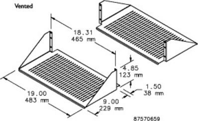 nVent HOFFMAN ESHDV19 Hoffman ESHDV19 Double-Sided Vented Shelf; Black