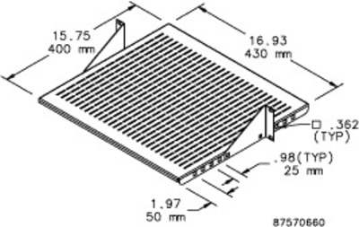 nVent HOFFMAN ESHVA23 Hoffman Pentair ESHVA23 Adjustable Vented Shelf; 2-Rack Unit, Steel, Black