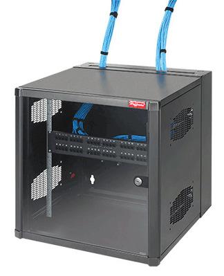 nVent HOFFMAN EWMWG242425 Hoffman EWMWG242425 Accessplus II Type 1 Window Door Double-Hinged Data Cabinet With Gland Plate; Wall Mount, 12-Rack Unit, Black